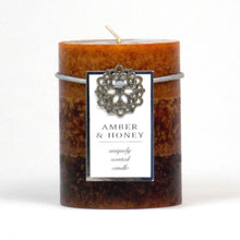 Load image into Gallery viewer, Amber & Honey Pillar Candle 3x4