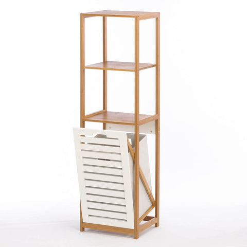 Bamboo Bathroom Hamper Shelf