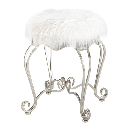 Fur Stool With Scroll Legs