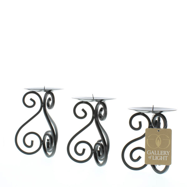 SCROLLWORK CANDLE STAND TRIO