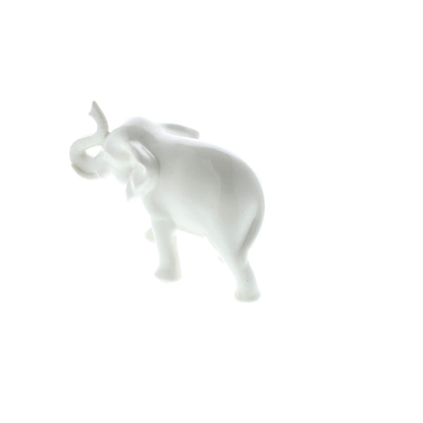 SLEEK WHITE CERAMIC ELEPHANT
