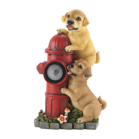 Dogs And Fire Hydrant Solar Statue