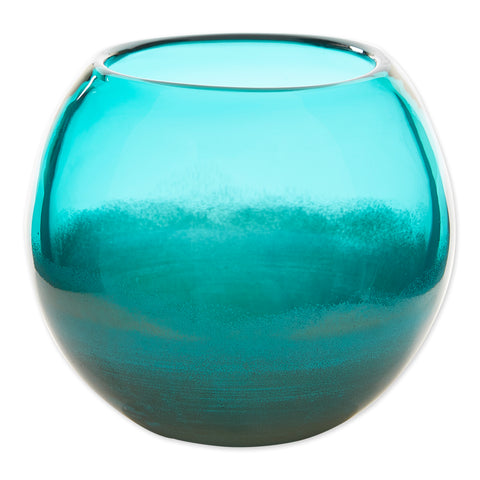 Small Aqua Fish Bowl Vase