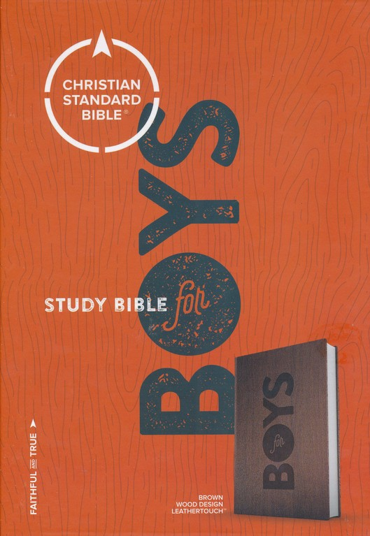CSB Study Bible for Boys: Brown, Wood Design