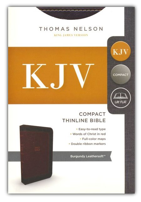 KJV Compact Thinline Bible: Burgundy Leathersoft