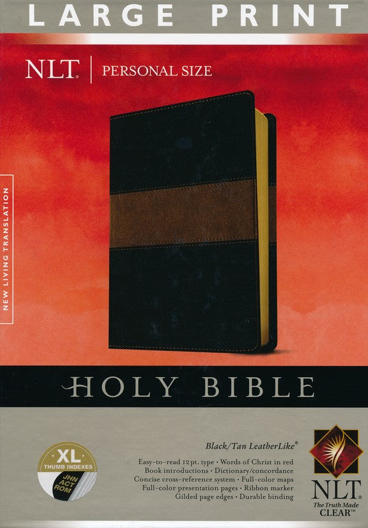 NLT Personal Size Bible: Large Print, Black & Tan, Thumb Indexed