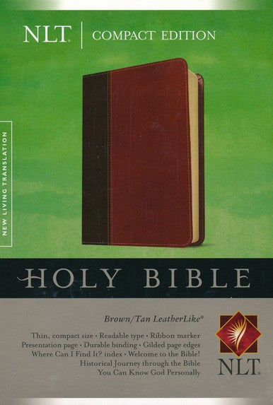 NLT Compact Edition Bible: Brown/Tan LeatherLike