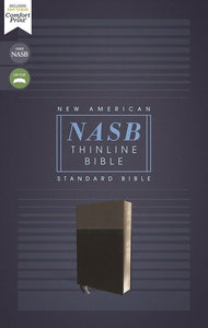 NASB Comfort Print Thinline Bible, Red Letter Edition--soft leather-look, black