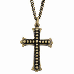 Studded Flared Ends Cross Necklace