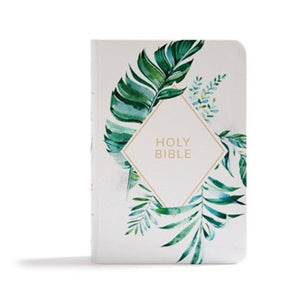 KJV On-the-Go Bible--soft leather-look, white floral textured