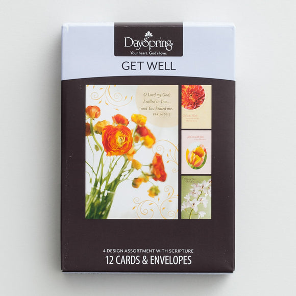 Boxed Cards: Get Well - Budding Hope, Set of 12