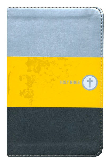 NIV Boys Backpack Bible - Yellow/Charcoal