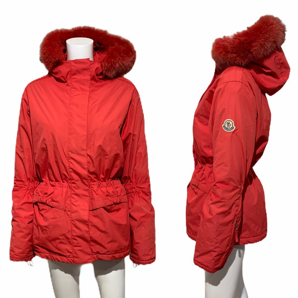 Vintage Moncler Grenoble Red Ski Jacket With Fur