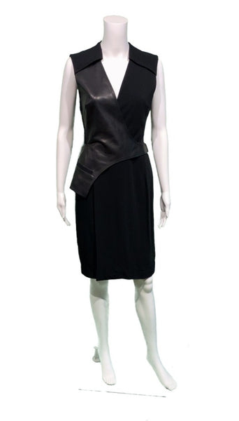 ALEXANDER WANG Leather & stretch-crepe wrap dress