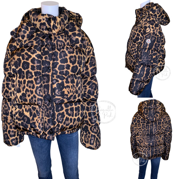 NWT Moncler Caille Leopard Down Puffer Jacket