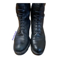 Gucci Tall Black Leather Lace-up Combat Boots