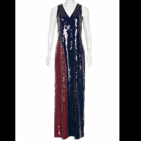 NWT Tory Burch Ophelia Color Block Sequin Dress