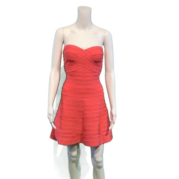 Hervé Leger Coral Akari Bandage Cocktail Dress