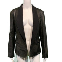 ALEXANDER WANG Black Distressed Leather Suede Combo Jacket