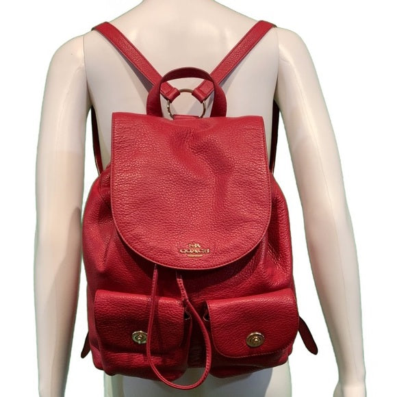 Coach Billie F37410 Pebble Red Leather Backpack