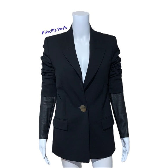 ALEXANDER WANG Blazer With Leather Sleeves Black