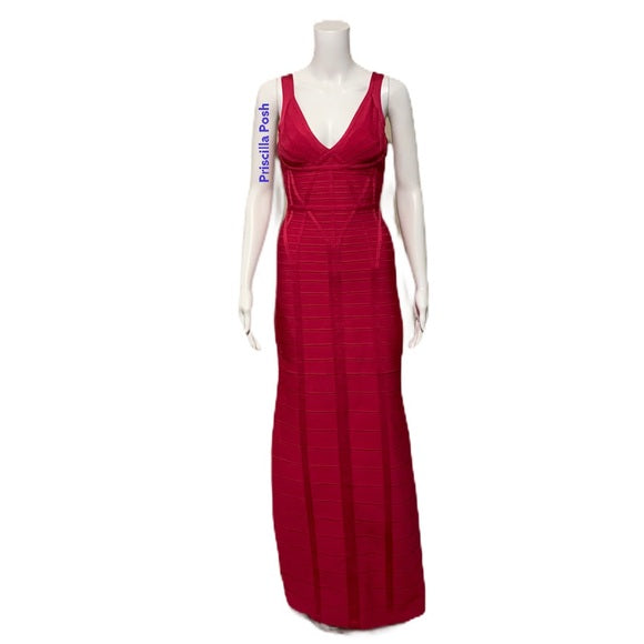 Herve Leger Kora Signature Gown Bright Rose Pink