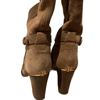 Tory Burch Livingston Suede Riding Boot Block Heel