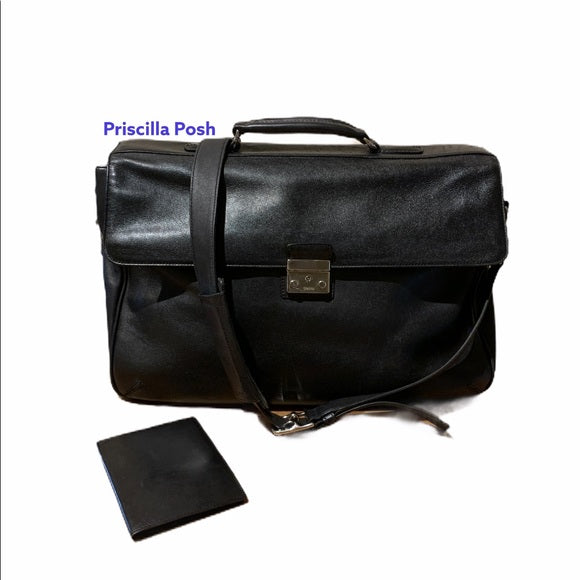Coach Black Vintage Leather Briefcase Laptop Bag