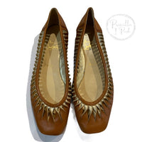 Christian Louboutin Leather Tan Gold Cutout Flats