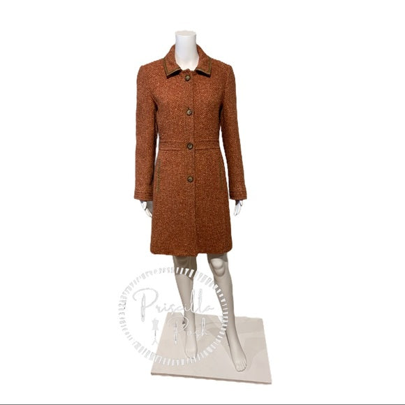 Coach Pink Herringbone Wool Tweed Trench Coat