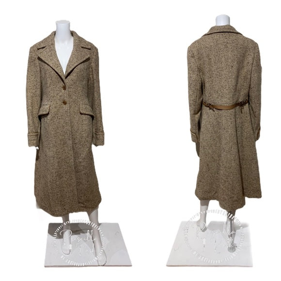 NWT COACH Wool Single Breasted Long Peacoat Brown