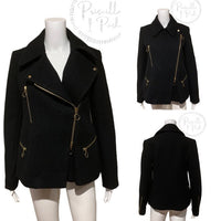 Chloé Washed Wool Melton Moto Jacket Black Jacket