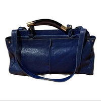 CHLOE Leather Saskia Zip Top Tote Navy MSRP $1,680