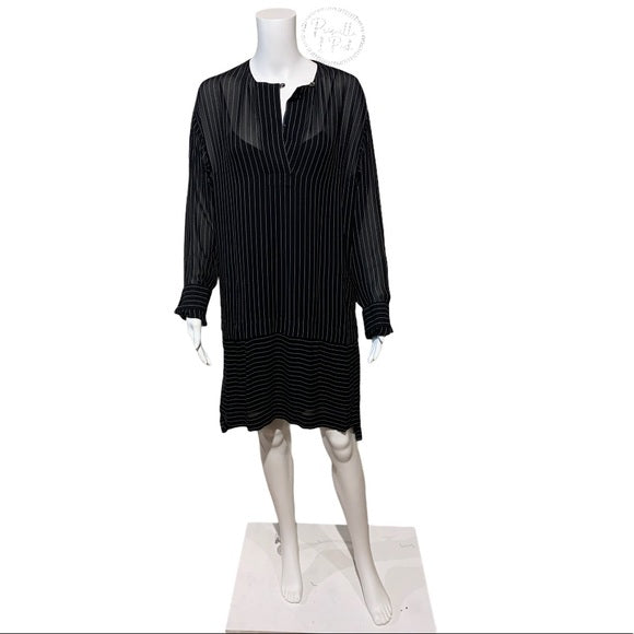 Alexander Wang Black Pinstripe Sheer Shirt Dress