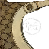 Gucci Ivory Leather GG Monogram Canvas Charmy Bag