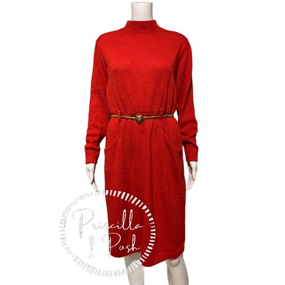 St. John Red Long-sleeve Sweater Dress Vintage