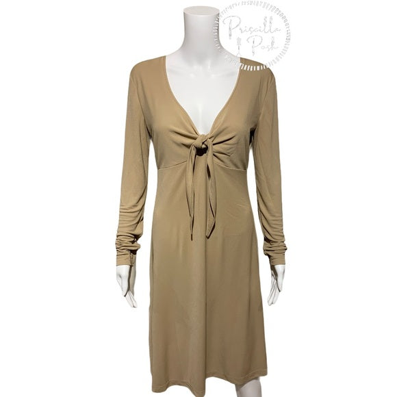 St. John Beige Jersey Tie Bodice Fit & Flare Dress