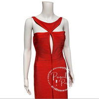 "Herve Leger ""Lola"" Bandage Gown Coral Poppy Red"