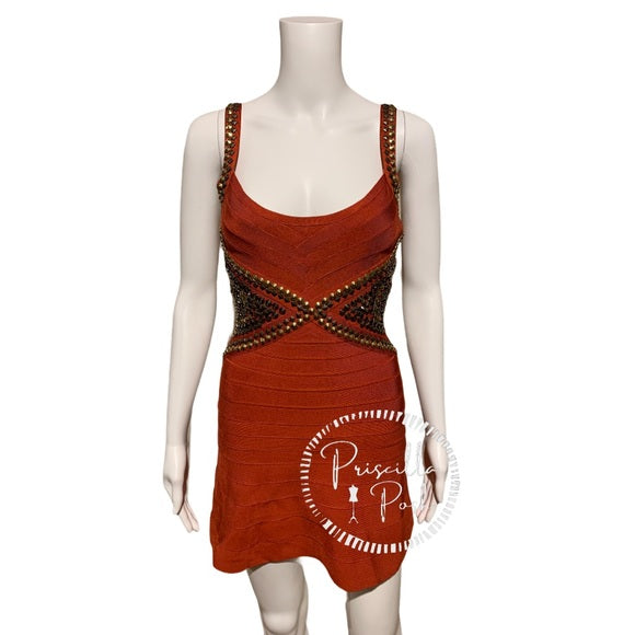Herve Leger Ayia Studded Mini Dress in Rust Red