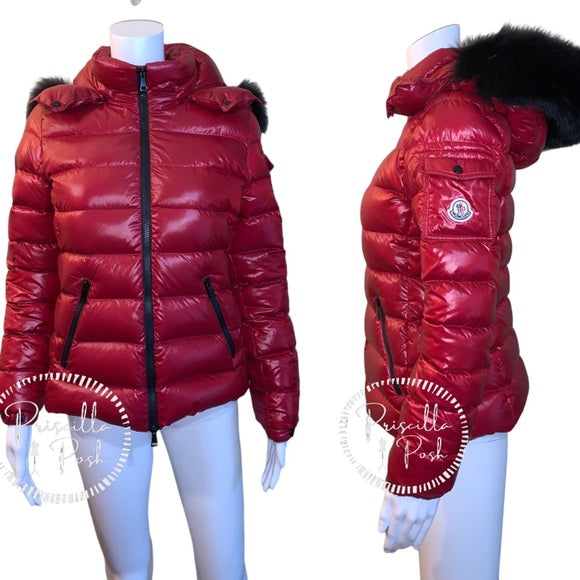 Moncler BadyFur Jacket Dark Red Giubbotto Fox Fur