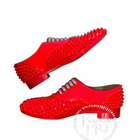 Christian Louboutin Freddy Spiked Loafer Neon Pink
