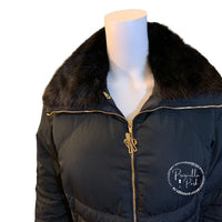 Moncler Long Black Down Puffer w/ Mink Fur Collar