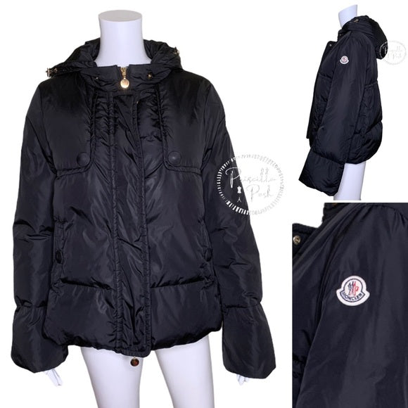Moncler Amaryllis Hooded Down Puffer Jacket Black
