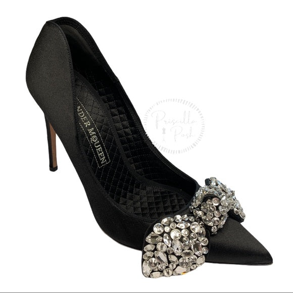 Alexander Mcqueen Black Satin Crystal Bow Pumps