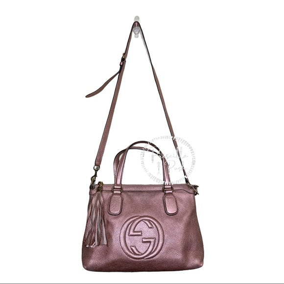 Gucci Metallic Calfskin Medium Soho Tote Bag Pink