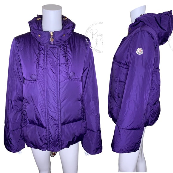 Moncler 'Amaryllis' Bell Sleeve Down Jacket Purple