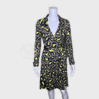 DVF Jeanne Silk Jersey Wrap Dress Snow Leopard