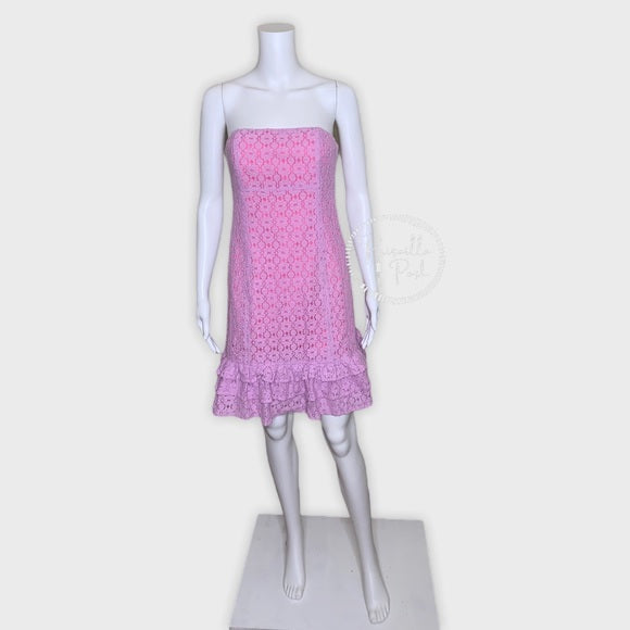 Lilly Pulitzer Purple Lace Eyelet Strapless Dress