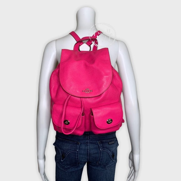 Coach Hot Pink Billie Leather Pebbled Backpack