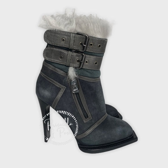 ALEXANDER MCQUEEN Leather-trimmed suede ankle boot